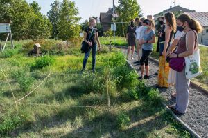 Část exkurze na střeše vodojemu společnosti Veolia, Seminář Ekologická obnova travních porostù, 22. září 2020