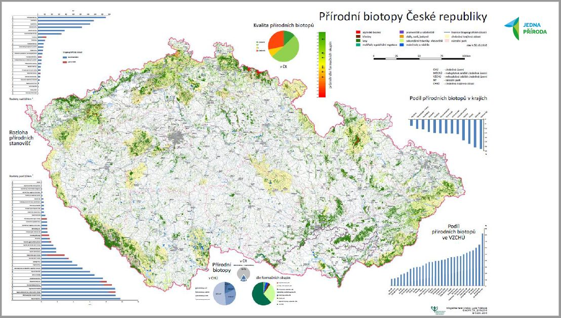 Snímek o výsledcích mapování přírodních biotopů z prezentace Karla Chobota