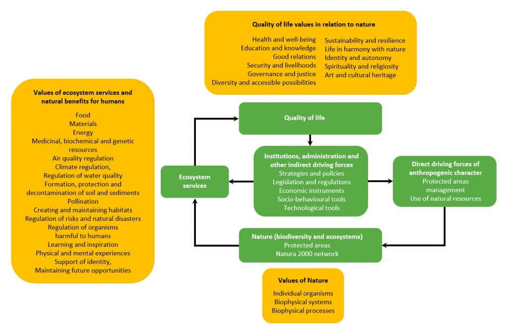 Scheme of the conceptual framework for the evaluation of socio-economic benefits of the Natura 2000 system (based on Díaz et al. 2015).