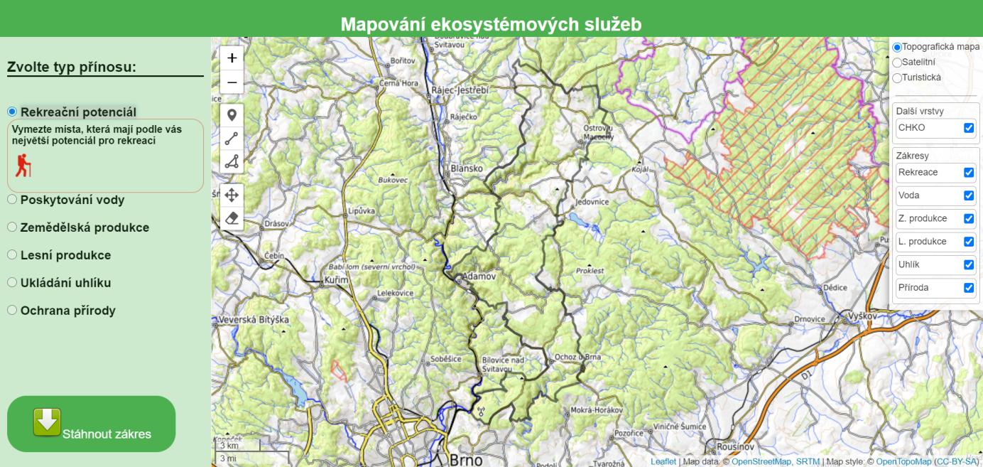 Podoba první webmapové aplikace projektu Participativní modelování hodnot ekosystémových služeb ve zvláště chráněných územích, autor aplikace: Petr Krpec